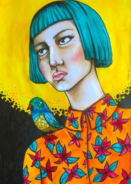 THE GIRL WITH THE BIRD